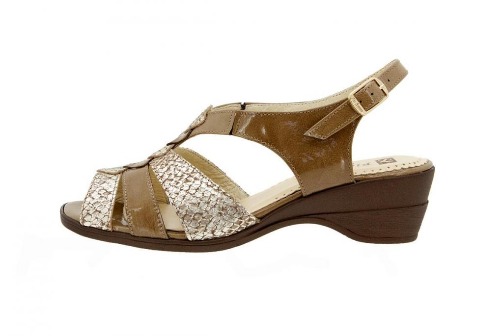 Wegde Sandal Patent Taupe 4552