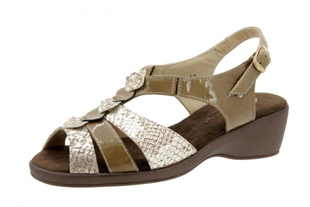 Wegde Sandal Patent Taupe 4572