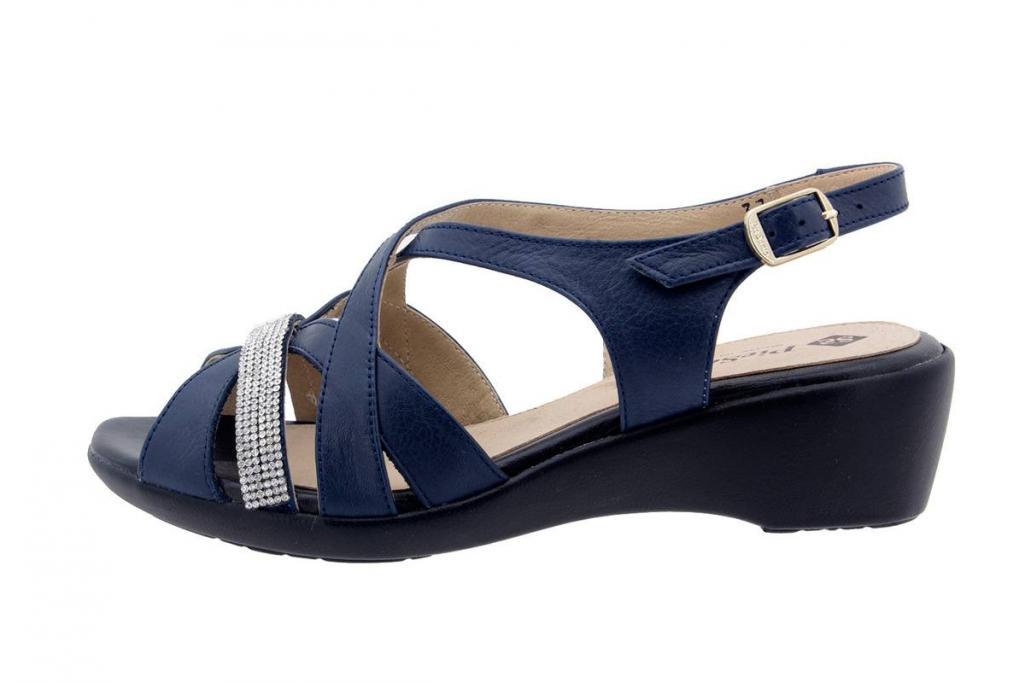 Wegde Sandal Leather Blue 6558