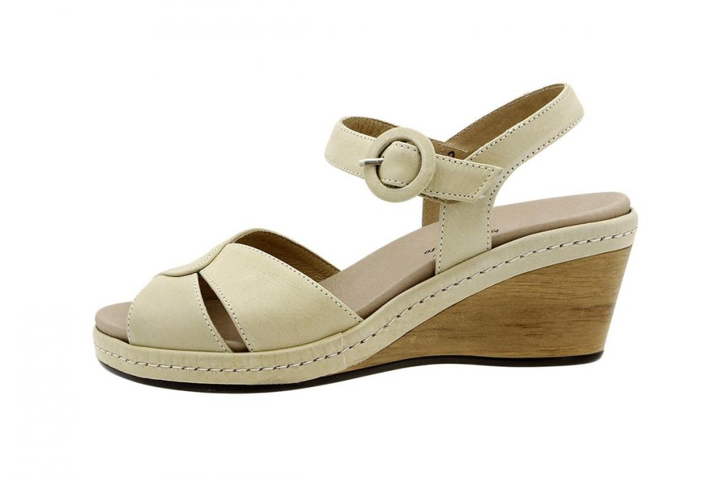 Removable Insole Sandal Beige Leather 6953