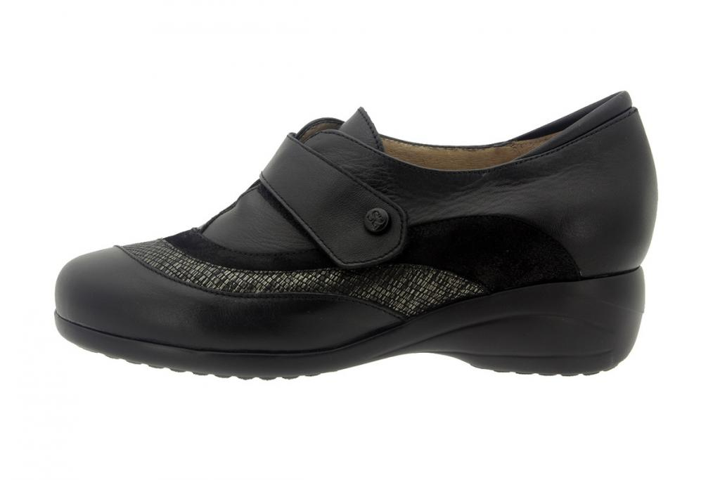 Velcro shoe Leather Black 7981