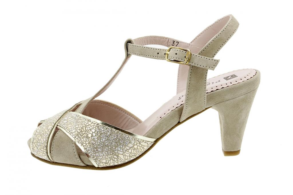 Heel Sandal in Metal Sand 8258