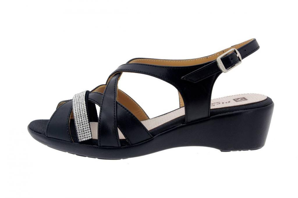 Wegde Sandal Leather Black 8558