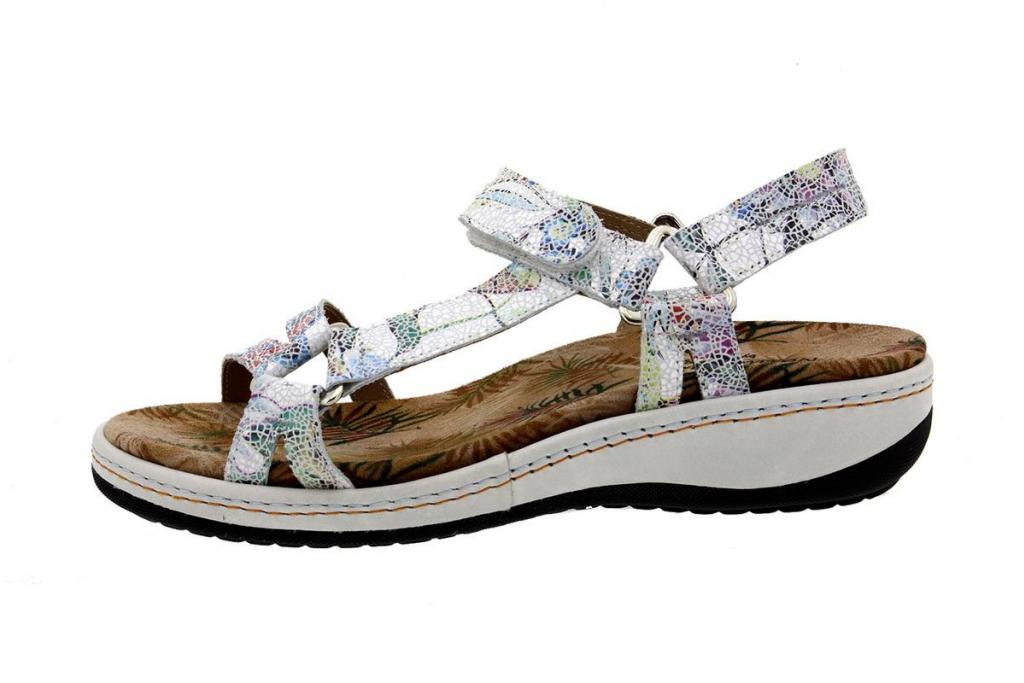 Removable Insole Sandal Flowers White 8913