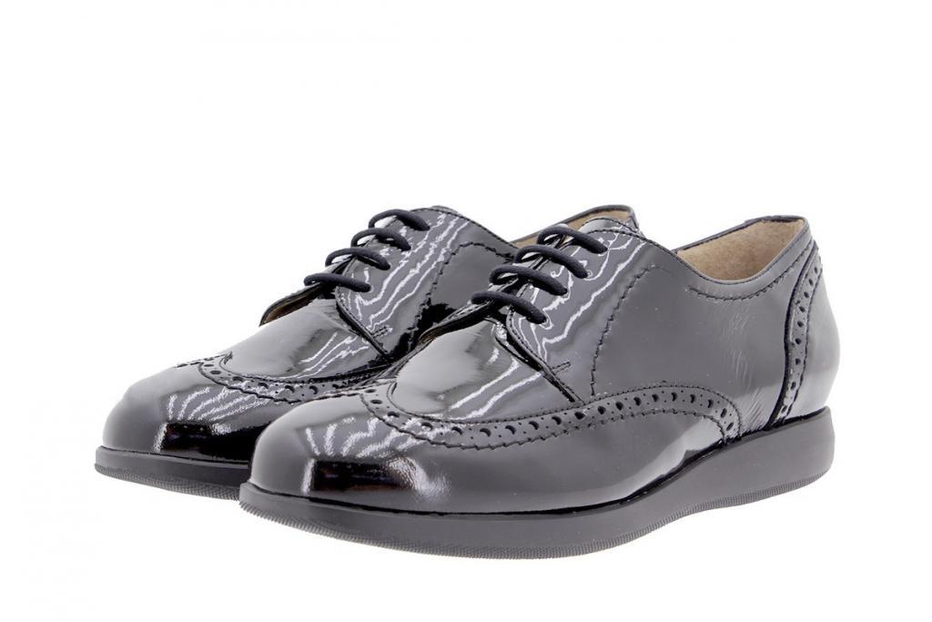 Zapato Cordón Charol Negro 9630