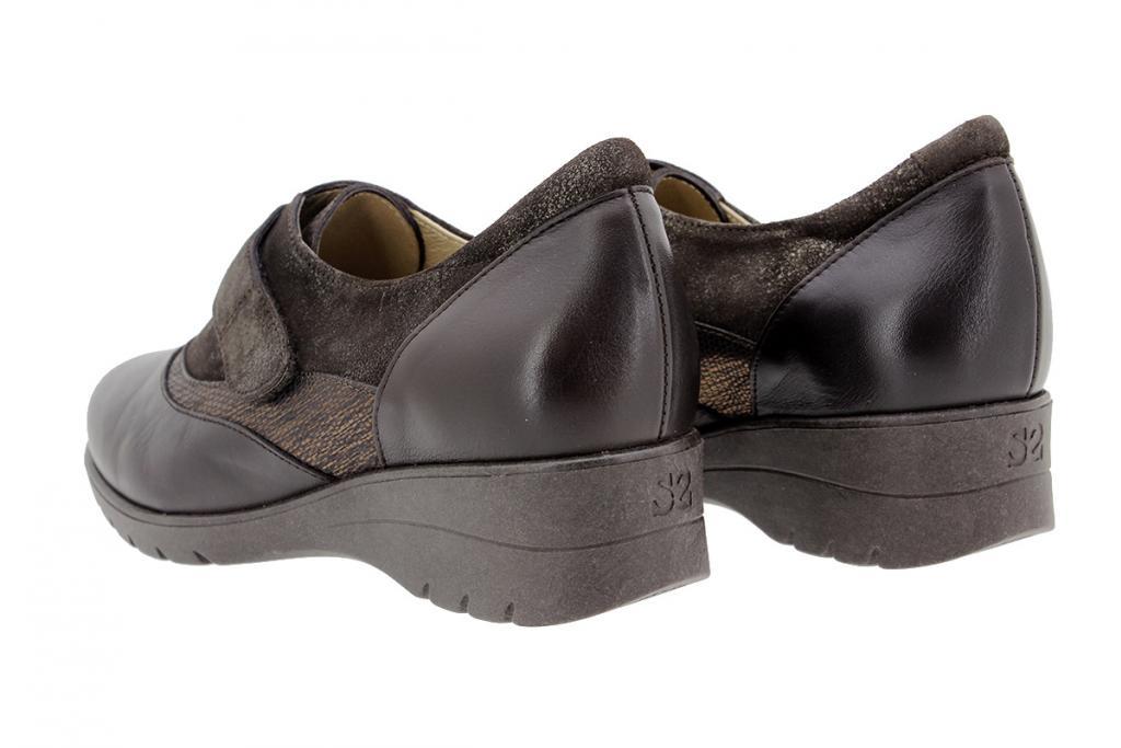 Zapato Velcro Piel Caoba 9956