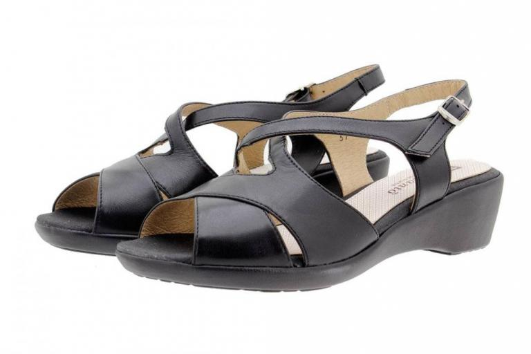 Wegde Sandal Leather Black 1553