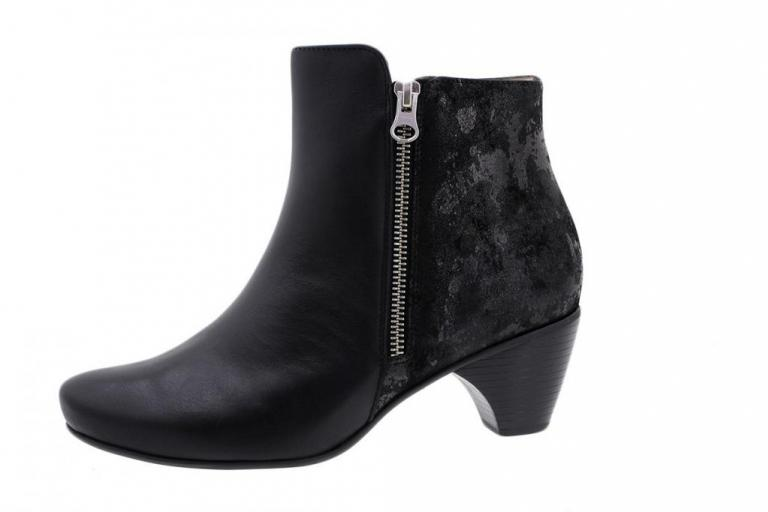 Ankle Boot Black Leather-Metal Suede 175880