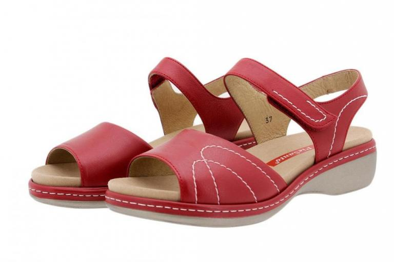 Removable Insole Sandal Red Leather
