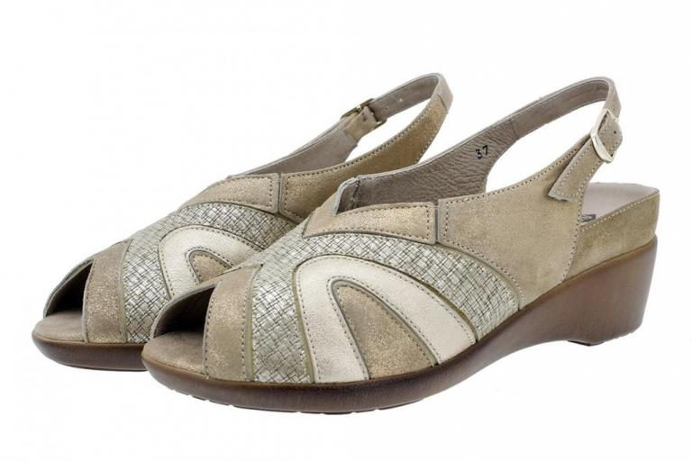 Removable Insole Sandal Metal Suede Beige 180162