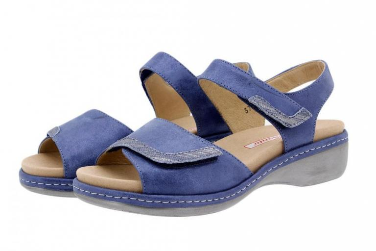 Removable Insole Sandal Metal Suede Blue 1802