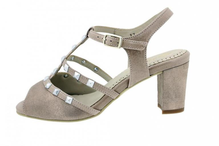 Heel Sandal Nude Metal Suede 180257