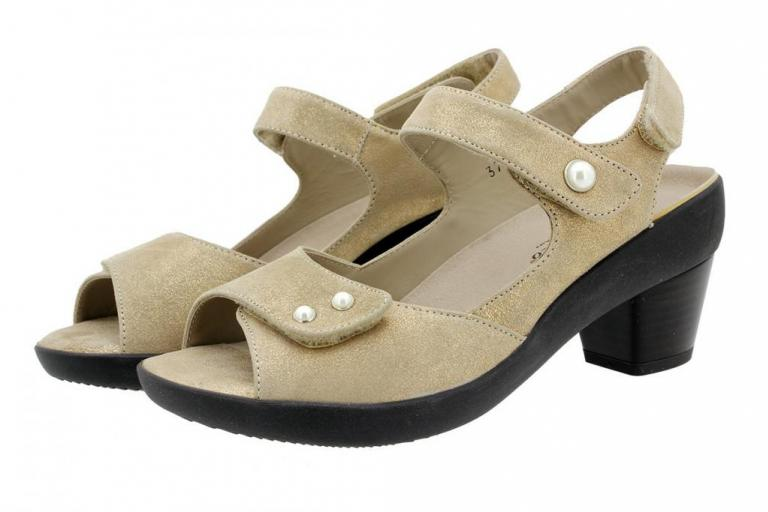 Removable Insole Sandal Beige Metal Suede 180446