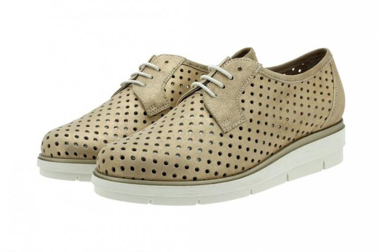 Lace-up Shoe Beige Metal Suede 180623
