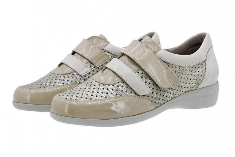 Velcro Shoe Beige Patent 180676