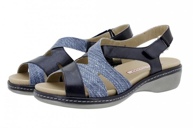 Removable Insole Sandal Leather Blue 180813