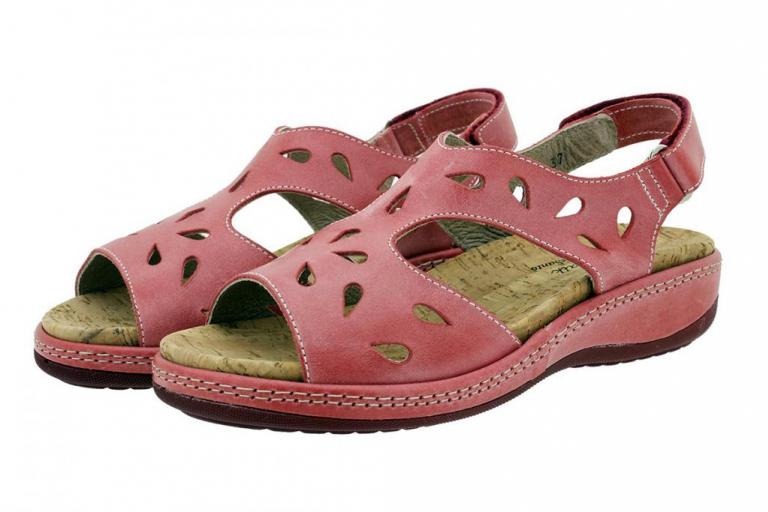 Removable Insole Sandal Red Leather 180907