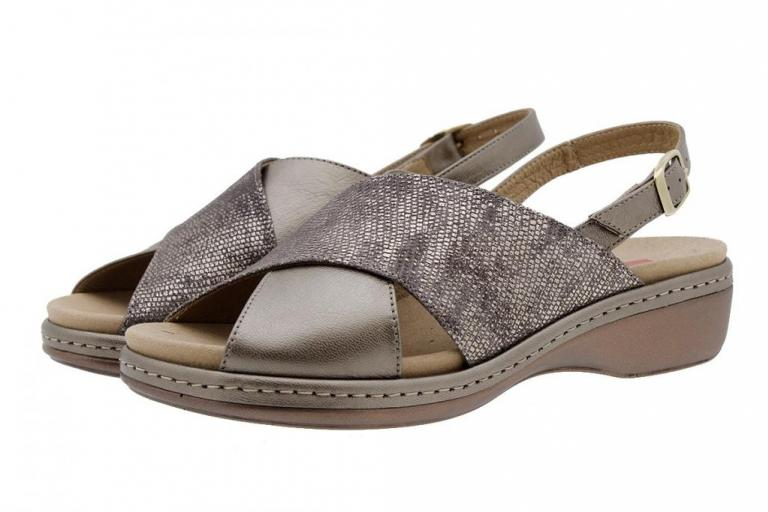 Removable Insole Sandal Metal Taupe 1814