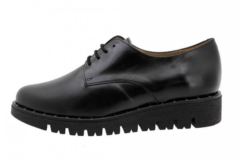 Lace-up Shoe Black Leather 185701