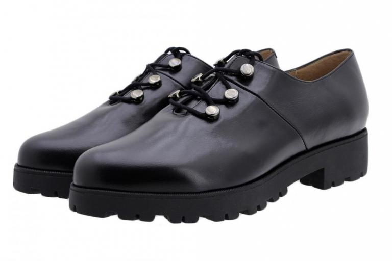 Lace-up Shoe Black Leather 185733