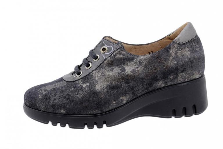 Lace-up Shoe Grey Metal Suede 185924