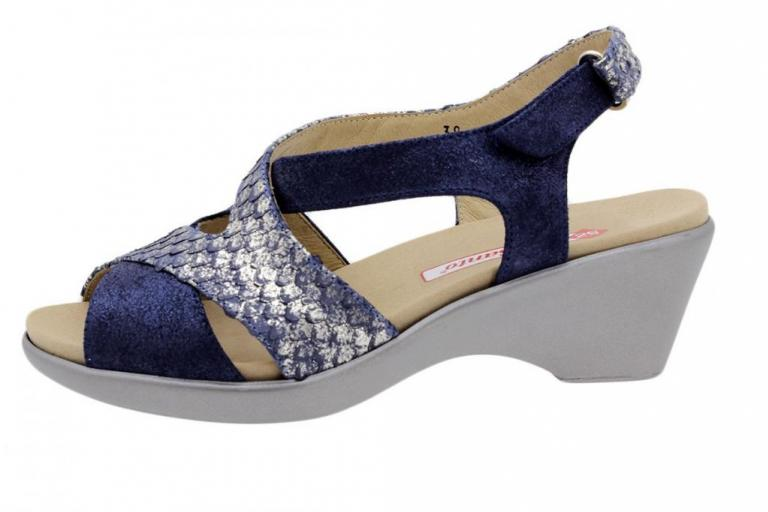 Removable Insole Sandal Blue Metal Suede-Snake 1861