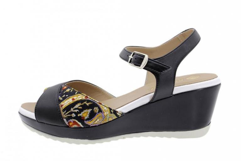 Wegde Sandal Black Leather 190347
