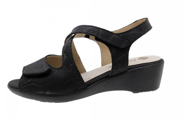 Wegde Sandal Black Leather 190381