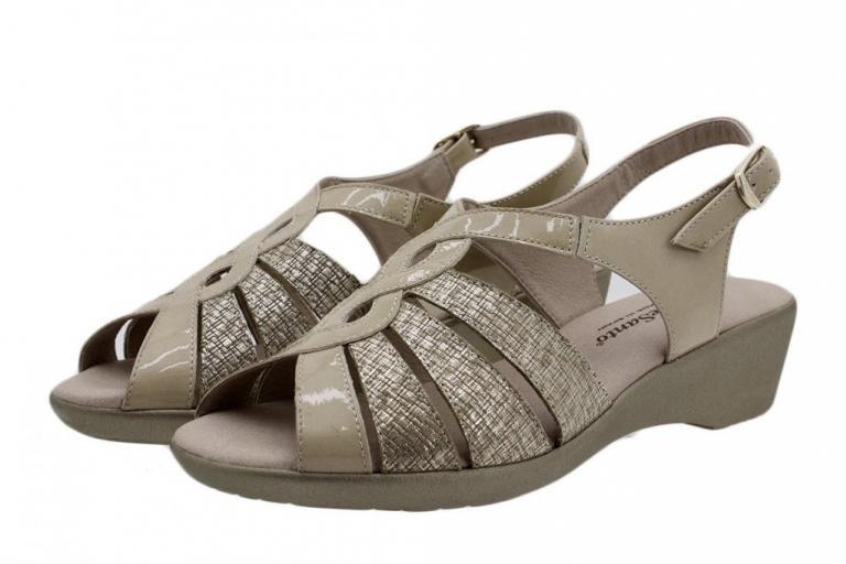Wegde Sandal Beige Patent 190392