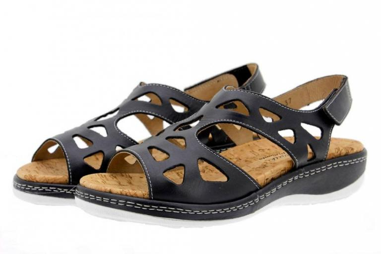 Removable Insole Sandal Black Leather