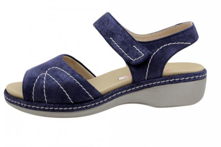 Removable Insole Sandal Blue Metal Suede 190801