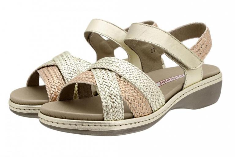 Removable Insole Sandal Platinum-Copper-Platinum Interlaced 190809