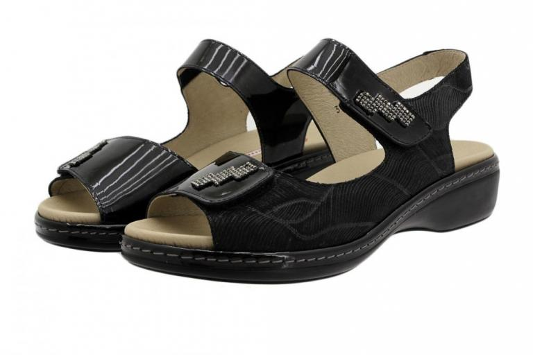 Removable Insole Sandal Black Patent 190818