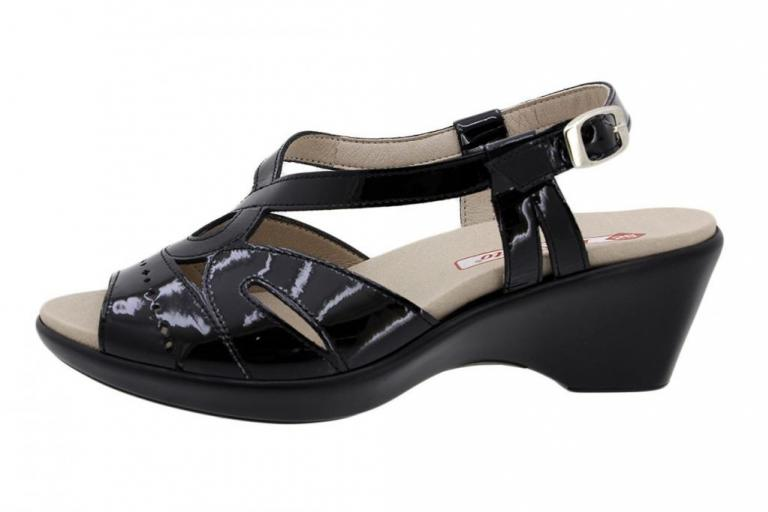 Removable Insole Sandal Black Patent 190852
