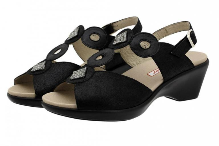 Removable Insole Sandal Black Metal Suede 190853