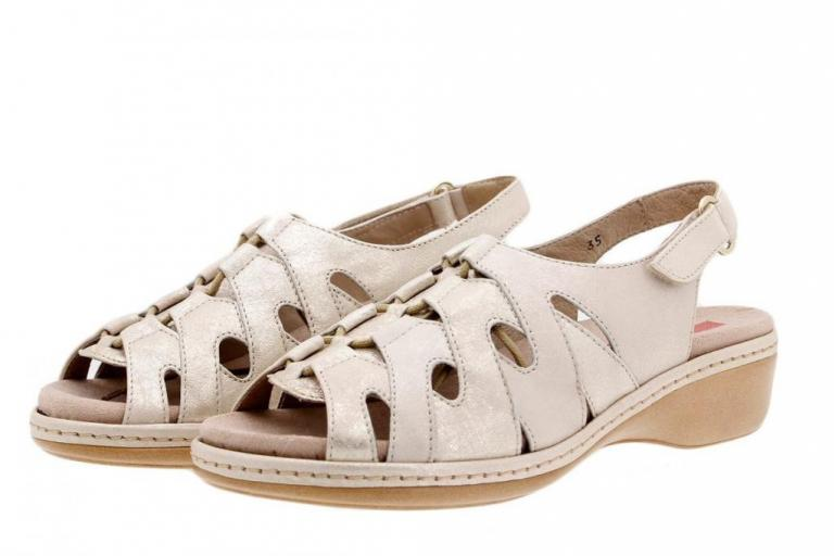Removable Insole Sandal Metal Suede Beige 4803