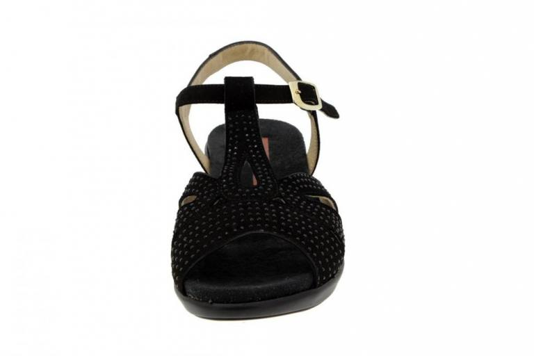 Removable Insole Sandal Suede Black 4863