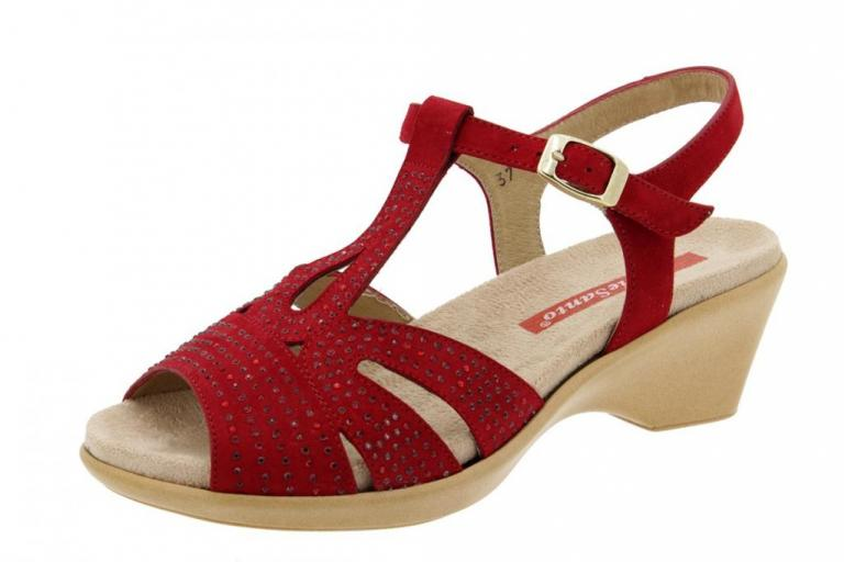 Removable Insole Sandal Suede Red 4863