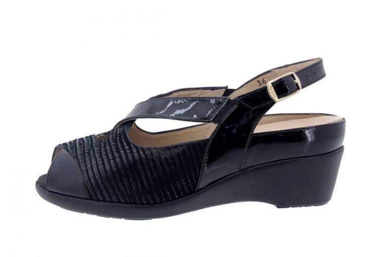 Removable Insole Sandal Patent Black 6154