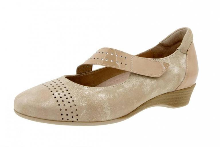 Mary-Jane Metal Suede Beige 6727