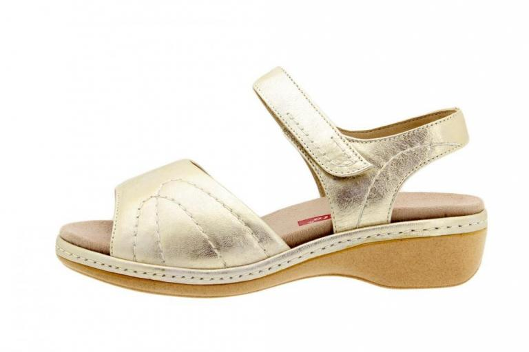 Removable Insole Sandal Metal Suede Beige 6801