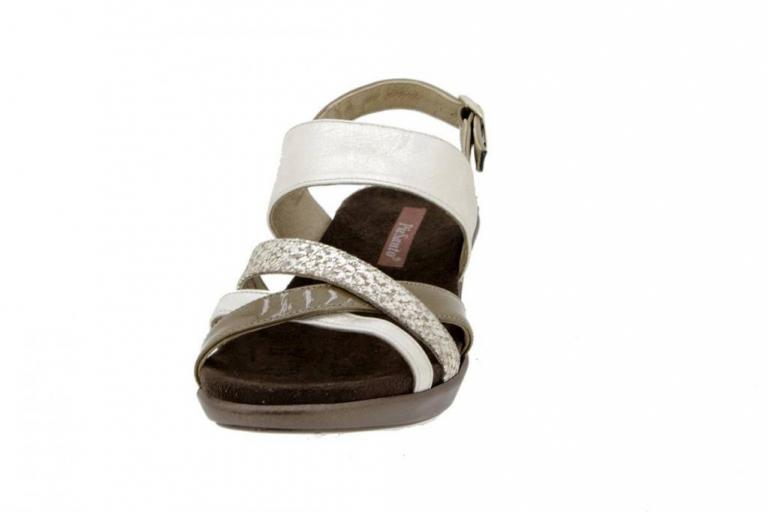 Removable Insole Sandal Metal Suede Beige 6859