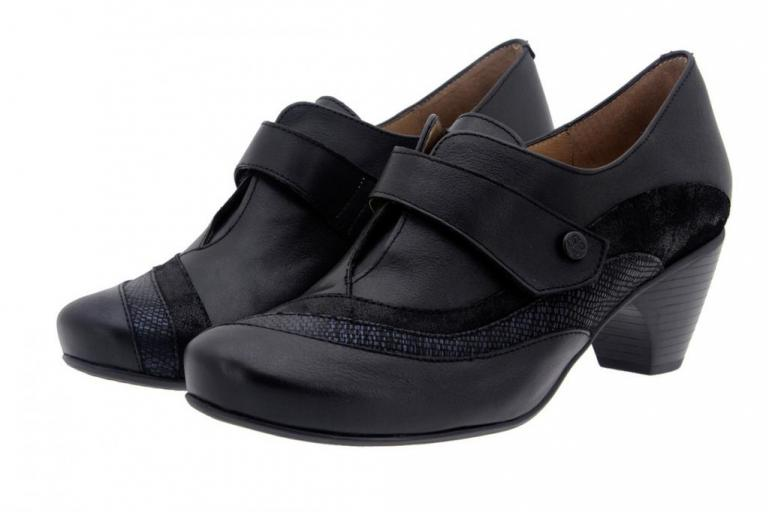 Velcro shoe Leather Black 7406