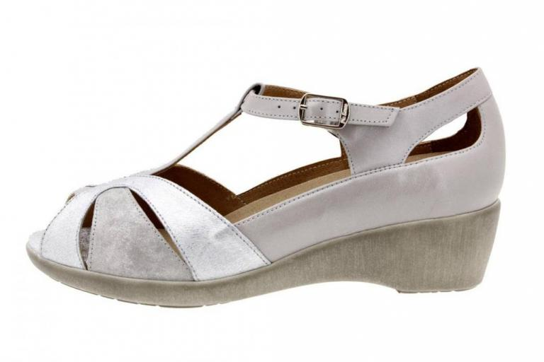 Removable Insole Sandal Leather Silver 8160