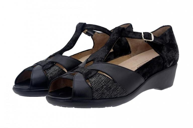 Removable Insole Sandal Leather Black 8165