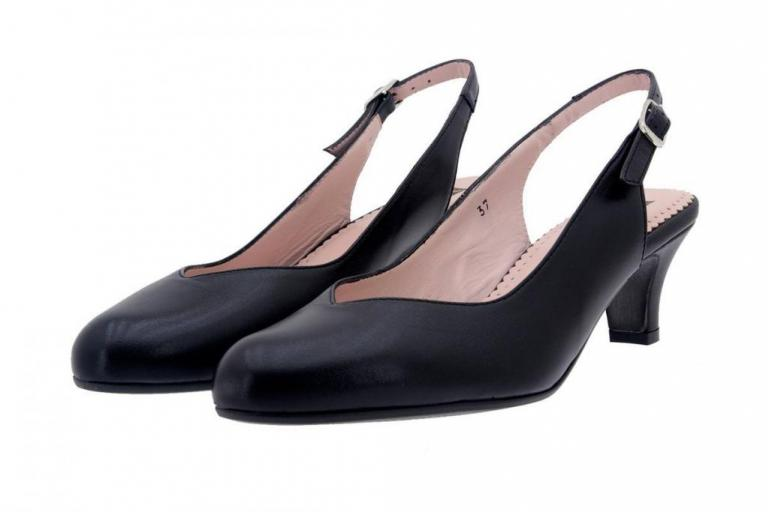 Court shoe Leather Black 8229