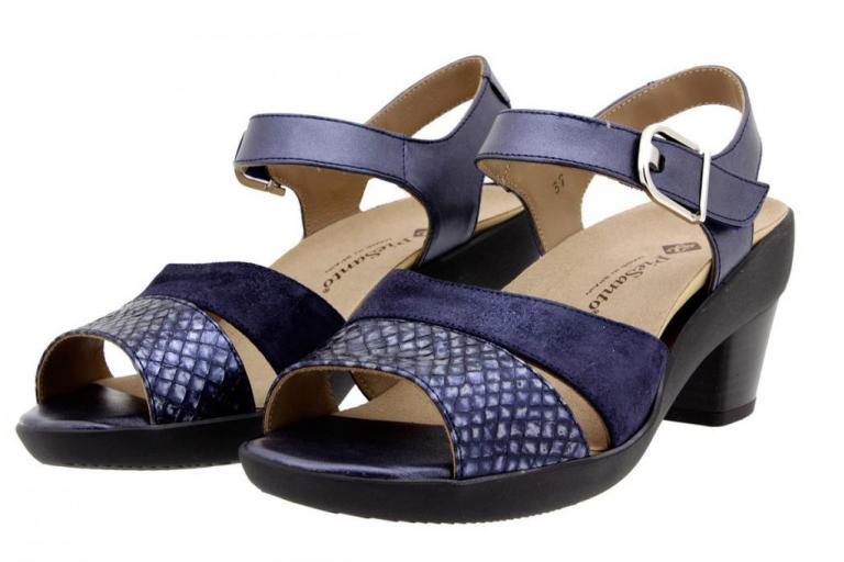Removable Insole Sandal Snake-Suede Blue 8440