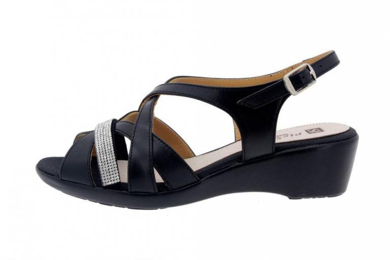 Wegde Sandal Leather Black 8558