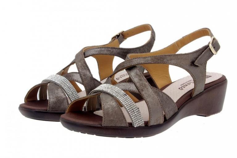 Wegde Sandal Metal Suede Mink 8558