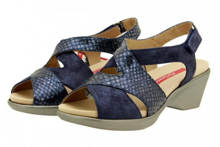 Removable Insole Sandal Blue Metal Suede